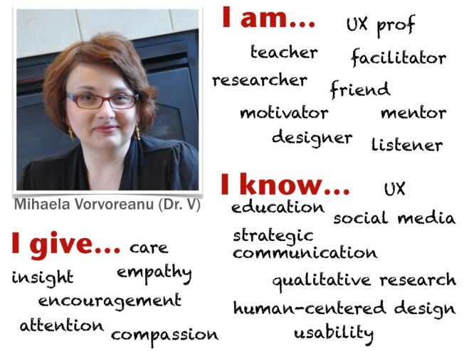 Mihaela Vorvoreanu (Dr. V) I am Ux prof, teacher, facilitator, researcher, friend, motivator, mentor, designer, listener. I know UX, education, social media, strategic communication, qualitative research, human-centered design, usability. I give care, insight, empathy, encouragement, attention, compassion.