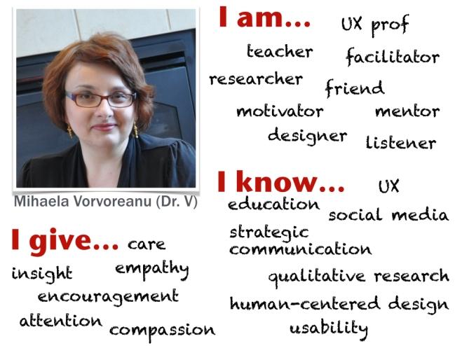 Mihaela Vorvoreanu (Dr. V) I am Ux prof, teacher, facilitator, researcher, friend, motivator, mentor, designer, listener. I know UX, education, social media, strategic communication, qualitative research, human-centered design, usability. I give care, insight, empathy, encouragement, attention, compassion.